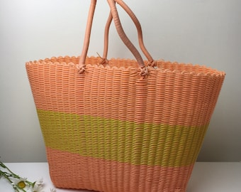 70's Funky Pastel Peach and Yellow Plastic Tote