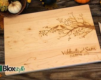 Personalized Cutting Board - Cutting Board, Personalized Wedding Gift, Custom Cutting Board, Anniversary Gift, Shower Gift, Birds & Tree