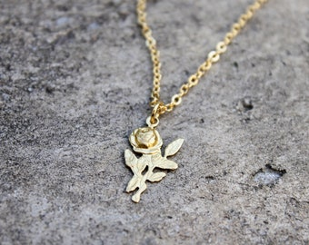 Vintage Rose Necklace // Gold Flower Pendant // Floral Brass Necklace // Layering Necklace // Boho Necklace // Girlfriend, Mom, Friend