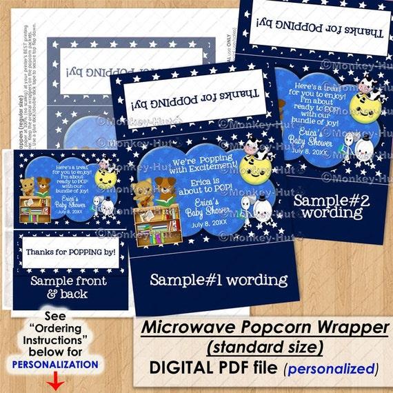Nursery Rhyme Baby Shower Popcorn Wrapper Ready To Pop Thank