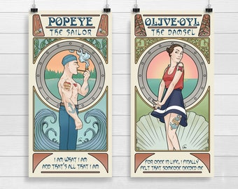 Popeye & Olive, Art Nouveau 5x10 Prints
