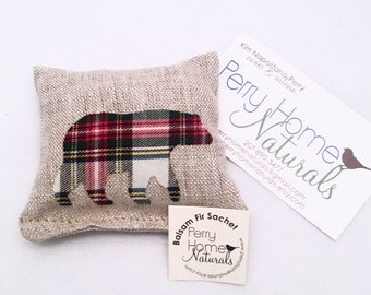 Small Maine Balsam Fir Filled Sachet in Natural Linen with Christmas Plaid Appliqued Bear - Maine Balsam Pillow -  Plaid Balsam Fir Sachet