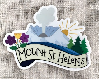 Mount St Helens Vinyl Sticker / Washington State Illustrated Sticker / Waterproof Sticker / Laptop Sticker / Pacific Northwest Sticker