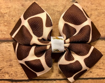 giraffe bow, zoo bows, giraffes, hair bows, hair clips, girls hair bows, hair bows for girls, boutique bows, kids bows
