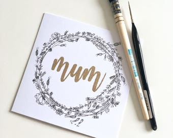 Mother's Day Card | Mum | Mother's Day | Happy Birthday | Floral Wreath Card