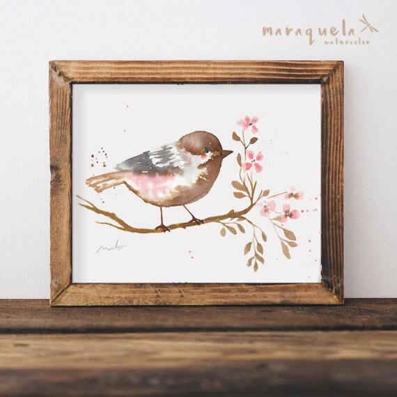BIRD III illustration Watercolor Collection,art print birds, animals, nature, elegant birds,brown pink hues,home decor,sweet birds painting