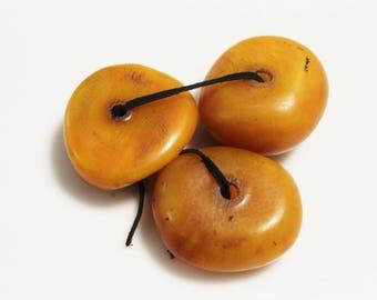 Large Moroccan Resin Beads, Orange African Amber Imitation Beads , Berber Beads, Ethnic Focal Beads (AJ202)