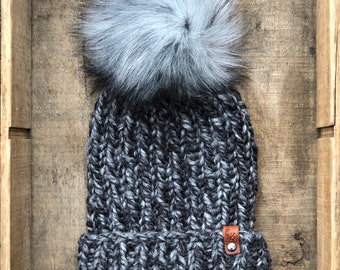 Hand Knit Snowboarder Chloe Kim Inspired Beanie Stormy Faux Fur Pom Bulky Yarn Handmade Skiing Snowboarding Sledding Winter Snow Hat