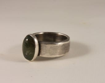 Wide Band Sterling Silver Ring / Fancy Jasper Stone / Size 9 / 598