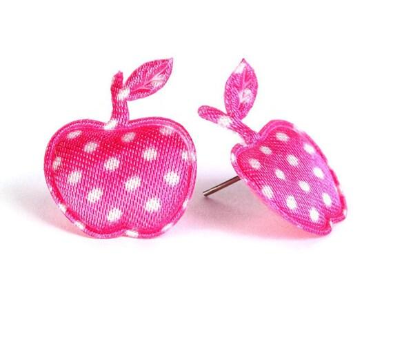 Sale Clearance 20% OFF - Hot pink polka dots apple applique satin felt hypoallergenic studs earrings (396)