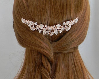 Rose Gold Hair Comb, Wedding Hair comb, Rose Gold headpiece, Swarovski, Rhinestone hair comb, Bridal headpiece, Ivy Hair Comb