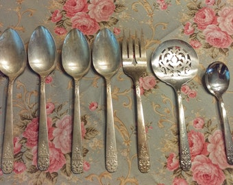 Vintage Wm. Rogers Serving Pieces and Soup Spoons