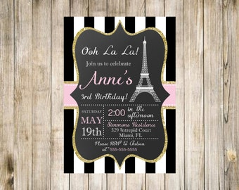 Paris Birthday Photo Invitation Printable Chalkboard Pink Gold Glitter White Digital Favorites Likes Loves Eiffel Tower French theme Sparkle