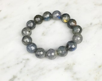 Beaded 12mm faceted labradorite stackable bracelet, Boho bracelet, stackable bracelet, yoga bracelet, healing bracelet