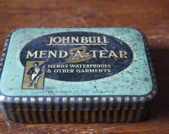 Vintage British John Bull Mend-A-Tear Tin.