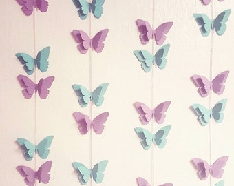 BUTTERFLY GARLAND-Any Color--Any Length--Happy Birthday Butterfly Banner--Cupcake Toppers--First Birthday--Baby Shower--Backdrop--
