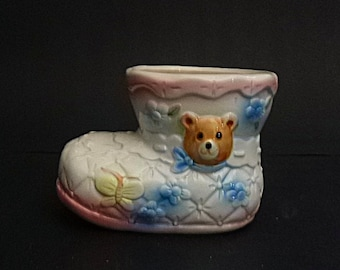 Adorable vintage Baby shoe planter,  Baby Girl planter, pink baby shoe, quilted porcelain shoe, terrific Nursery Decor Baby gift
