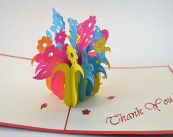 3D Cards - Thank You Card - Flower Box Card - Pop Up Card - 3D Thank You Card