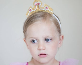 Couture Princess Aurora Crown- Costume sleeping beauty crystal rhinestone and beaded crown headband