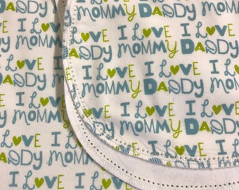 I Love My Mommy hemstitch flannel baby blanket and burp cloth, double sided flannel receiving size 36x40.  Perfect swaddle.