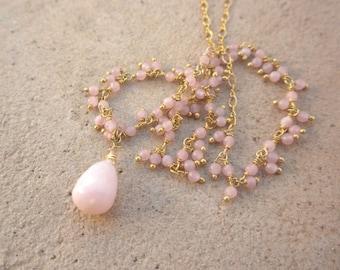Pink Opal Gold Filled Necklace October Birthstone, Opal Necklace, Birthstone Necklace, Pink Necklace