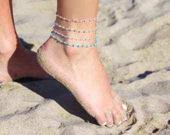 Rosary chain anklet - sterling silver chain anklet - silver pyrite stone anklet - foot bracelet - ankle bracelet - rosary stone ankle