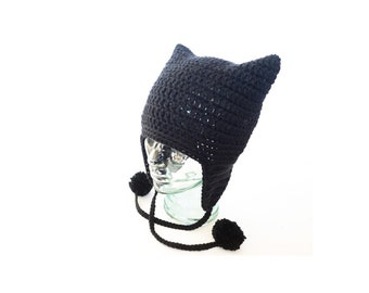 Pussyhat Black // Feminist // Planned parenthood donation // Resist // Runaways hat // Earflap // Cat Costume hat // Nasty Woman