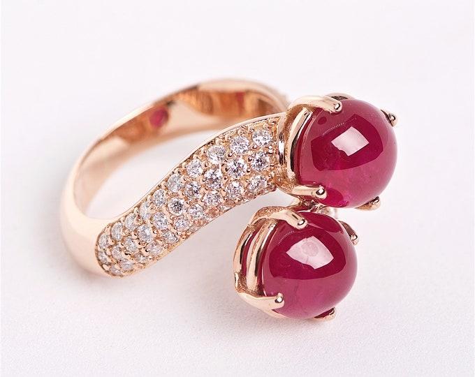 The Zarina - 18K Cabochon Ruby and Diamond ring