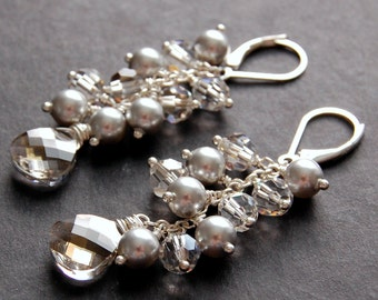 Bridal Earrings, Silver Pearl and Swarovski Crystal Cluster Earrings, Silver and Gray Earrings, Sterling Silver Earwires