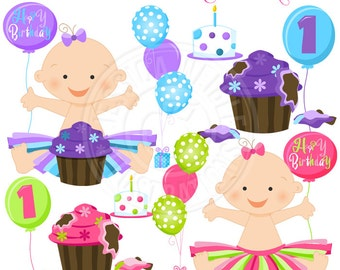 Baby Girl Cake Smash Cute Digital Clipart for Card Design, Scrapbooking, and Web Design, First Birthday