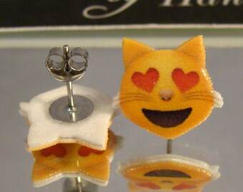 Kitty Love Emoji Stud Earrings - Large stud earrings - Surgical steel