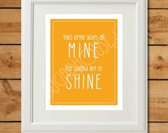 This Little Light of Mine - Printable Art - Tangerine Orange