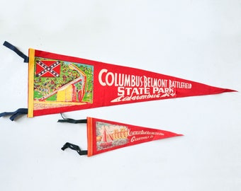 Vintage Felt Pennant - Columbus Kentucky Souvenir Banner Flag