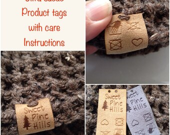 Custom care instruction tag, ultra suede, tag, fabric custom tag, personalized, suede tag, engraved tag, button, knitting tag, product