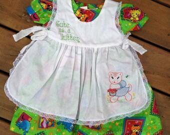 Size 3T, Children's Dress, Cute as A Kitten Pinafore Dress, Girl's Dress, Girl's Fancy Dress