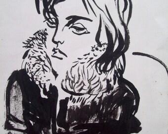 "6""x 7""4/16 original brush and ink drawing"