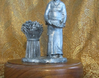 1982  Signed & Numbered Pewter Stature Woman with Long Steam Roses ?? Mounted on Wood