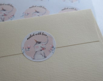 "Elephant ""mailed with love"" - 24 round mailing labels"