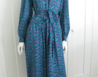 Vintage 80's Lanz Floral Print Drop Waist Rayon Dress - Sz 1