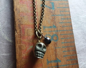 Pyrite Skull Charm and Spinel Necklace