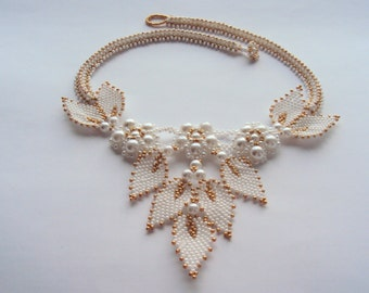 Collier brodé collier de mariage blanc collier de perles collier mariée bijoux OOAK