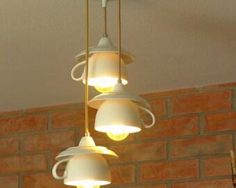 Kitchen chandelier, ceiling lamp with porcelain teacups. Wonderful kitchen decor and Kitchenware gift, Restaurant lighting ideas