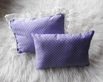 Lilac polka dot mini posing pillows. Boy & girl photography prop. UK seller, Rts. Cushion, photo prop.