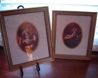 Victorian style pictures 11x13 inch set of 2 gold frames oval mats wall decor wall hangings retro chic cottage