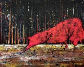 Absract acrylic painting original artwork canvas by DavidArt