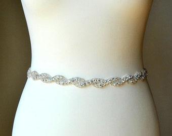 Thin Bridal Belt, Bridal Belt, Wedding Belt, Bridal Sash, Rhinestone Belt Sash Flower Girl Bridesmaid Gift Sash belt Thin Dress Sash Belt