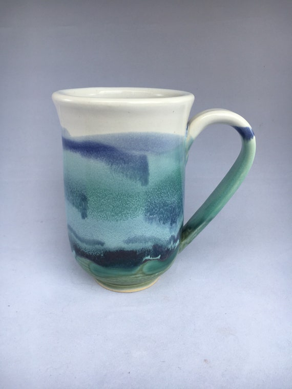 Handmade Blue, Green and White Ceramic Coffee Cup
