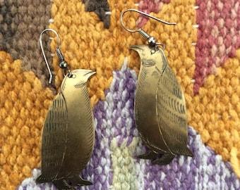1970's Large Brass Penguin Vintage Drop Earrings by Maeberry Vintage