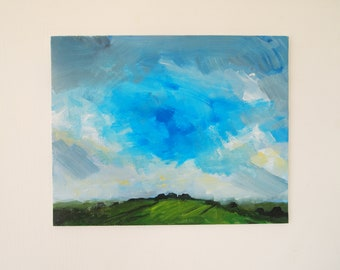 Landscape Painting Original Acrylic Art Canvas Board Clouds Hillside English Countryside Plein Air Outdoors Blue Green Trees Hills