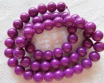27  Plum Purple Opaque Round Ball Glass Beads  8mm